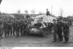 Unloading a Marder I tank destroyer from a train car, Belgium or France, 1943-1944, photo 07 of 10