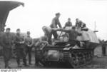 Unloading a Marder I tank destroyer from a train car, Belgium or France, 1943-1944, photo 08 of 10