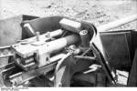 Close-up view of a PaK 40 gun mounted on a Marder II tank destroyer, Kharkov, Ukraine, early 1943, photo 1 of 7
