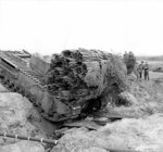 Churchill AVRE vehicle of 163rd Brigade, UK 54th Division, with fascine during ditch crossing exercises near Dunwich, England, United Kingdom, 14 Apr 1943