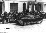 British prisoners of war in Calais, France, May 1940; note Panzer I light tank in foreground
