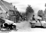 German PzKpfw VI Tiger I heavy tank in a village in France, 1943