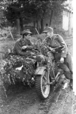 German Panzer troops with R75 motorcycle, France, summer 1944
