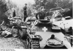 German Panzer I, Panzer II, and SdKfz. 251 vehicles in Poland, circa 3 Sep 1939; the officer in the SdKfz. 251 halftrack vehicle might be Heinz Guderian