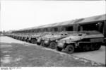 Newly-built SdKfz. 250 and SdKfz. 251 halftrack vehicles, near Berlin, Germany, 1942, photo 1 of 4