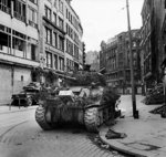 Sherman Firefly tank of British 7th Armored Division, Hamburg, Germany, 4 May 1945