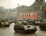 SU-76 self-propelled guns on parade in Red Square, Moscow, Russia, 24 Jun 1945