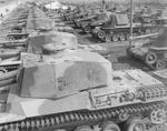 Type 3 Chi-Nu medium tanks and Type 3 Ho-Ni self-propelled guns of the Japanese 4th Tank Division, Japan, mid- to late-1945