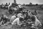 Type 92 Jyu-Sokosha tankette crews eating a meal in the field, date unknown