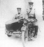 Japanese military policemen aboard a Type 97 motorcycle, date unknown