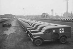 Acres of Dodge WC54 3/4-ton field ambulances outside a factory, Detroit, Michigan, United States, Aug 1942