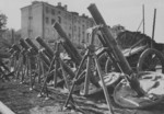 Captured Soviet 120-PM-38 mortars on display in Kharkov, Ukraine, 1940s