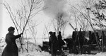 Soviet 122mm gun in action near Moscow, Russia, 3 Dec 1941
