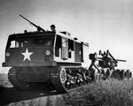 US Army M4 High Speed Tractor towing a 155mm Gun M1, date unknown