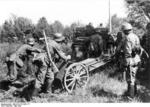 German soldiers with a 7.5cm le.IG 18 infantry gun, Maginot Line, France, May 1940