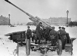 Soviet 85 mm M1939 (52-K) anti-aircraft guns in Leningrad, Russia, 1 Mar 1942