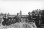 German Luftwaffe crew cleaning the barrel of an 8.8 cm FlaK anti-aircraft gun, Russia, 1942, photo 1 of 2