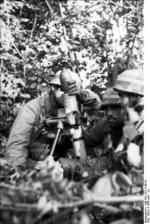 8 cm GrW 34 mortar and crew, France, Jun 1944