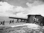 British 9.2-inch coastal artillery gun crew in exercise, Needles Battery, Isle of Wight, England, United Kingdom, 7 Aug 1941