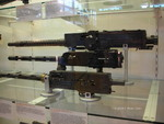US Browning Mk.II, UK Browning N1939, and Italian Breda M1937 machine guns on display at the Smithsonian Air and Space Museum Udvar-Hazy Center, Chantilly, Virginia, United States, 26 Apr 2009