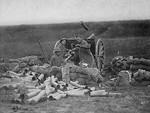 Battery C, 6th Field Artillery, US Army firing French-built 75mm field gun