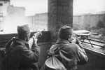 Russian troops fighting in Berlin, Germany, circa Apr-May 1945; note Mosin-Nagant M1944 Carbine and Degtyaryov Pekhotny
