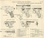 Technical drawings of the Glisenti M1910 semi-automatic pistol