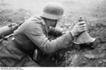 German soldier with 3 HL shaped charge, spring 1944