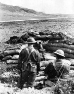 Canadian troops at their Lewis machine gun position overlooking the main highway at Iceland, 10 Feb 1941