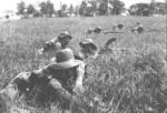 Royal Dutch East Indies troops on exercise, circa 1941; note Madsen light machine gun
