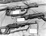 Submachine guns captured by US troops from the North Vietnamese Army, 1960; top to bottom: Soviet PPS-43, German MP 40, Vietnamese K-50M (license-built Soviet PPSh-41)