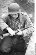 German soldier training with a Panzerfaust, southern Ukraine, spring 1944, photo 1 of 3