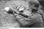 German soldier training with a Panzerfaust, southern Ukraine, spring 1944, photo 2 of 3