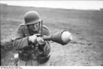 German soldier training with a Panzerfaust, southern Ukraine, spring 1944, photo 3 of 3