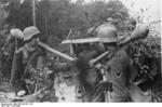 German Großdeutschland Division troops with Panzerfaust at Memel, East Prussia, Germany, late 1944; note grenades in belts