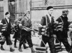 Polish resistance fighters with PIAT anti-tank launchers, Warsaw, Poland, Aug 1944