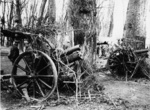 Two British Ordnance QF 4.5 inch Howitzers on the Western Front of WW1, 1916-1918