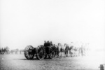 Ordnance QF 4.5 inch Howitzer being pulled by horses, Moascar, Egypt, 1915-1916
