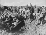 Troops of the Australian 1st Division Pioneers digging out a 4.5in howitzer near Hannebeek, Belgium, 4 Oct 1910