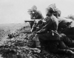 Polish Schwarzlose MG M.07/12 machine gun crew at the Battle of Radzymin, Poland, Aug 1920