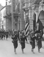 Color guard leading armored cruiser USS Pittsburgh landing party in the Bund, Shanghai, China, 1927; note Springfield M1903 rifles and M1911 pistols