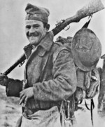 Greek soldier with Mannlicher-Schönauer rifle, Albania, late 1940