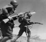Soviet infantry charging with SVT-40 rifles, Eastern Europe, 1941