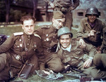 Soviet and US officers near Elbe River, Germany, 28 Apr 1945; note left Soviet officer
